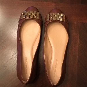 Brown Ballerina Flats with Gold Buckle